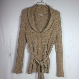 Izod Women's Cardigan Size M Sweater Cable Knit